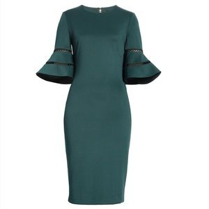 New Ted Baker Filnio Bell Sleeve Body-Con Dress